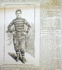 1898 newspaper with engravings EARLY COLLEGE FOOTBALL players BOSTON vs CORNELL