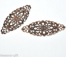 30 Gift Copper Tone Filigree Flower Wraps Connector 8x3.5cm