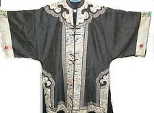 Antique Embroidered Han Chinese Qing Dynasty Silk Surcoat Waitao Robe circa 1880