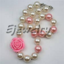 Pink Flower White Pearl Beads chunky Bubblegum Kids necklace&bracelet CB764
