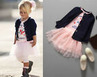 3pcs Baby Girl Child Kids Toddler Outfits Clothes Coat Pink T-shirt Skirt 1-4T