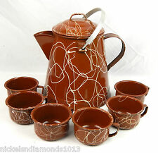 Vintage Enamelware Set Brown & White Drizzle Coffee Urn & 6 Cups Camping