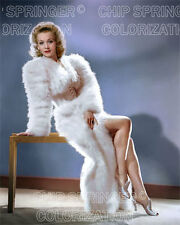 CAROLE LANDIS IN A FEATHER DRESS 8X10 BEAUTIFUL COLOR PHOTO BY CHIP SPRINGER