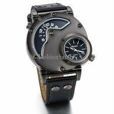 Men's Sport Dual Time Dial Leather Band Quartz Analog Military Army Wrist Watch