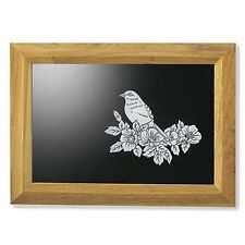 "FREE S/H BLUEBIRD ETCHED GLASS MIRROR HOME WOOD FRAME 21"" HUGE SALE NEW INTERIOR"