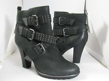 Sz 6 M NEW SOFFT Whitney womens black belted studded heel ankle Boots