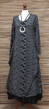 LAGENLOOK*AMAZING STUNNING QUIRKY 2 POCKETS  LONG DRESS*BLACK/GREY*BUST 36""