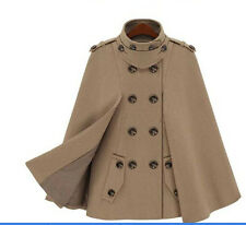 British Style Winter Batwing Women Cape Wool Blend Poncho Jacket Breasted Coat
