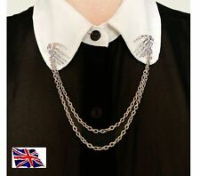 HALLOWEEN BONE HANDS Shirt Collar Neck Tip Silver Brooch Pin Chain Tassels