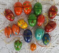 16 Vintage Erzgebirge Hand Painted Wood Egg Ornaments Germany Easter Christmas
