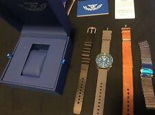 Squale 1521 Professional Diver Blasted Case Blue Watch 4extra Strap Mesh Leather