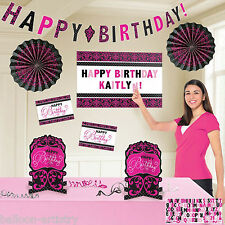 Stylish Black & Pink Happy Birthday Party Garland Fans Room Decorating Kit
