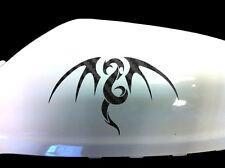 Tribal Dragon Auto Adhesivo ala Espejo Estilo calcomanías (juego De 2), de carbono negra