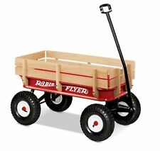 "Radio Flyer RED WAGON, Handle 10"" Rubber Tires All-Terrain Steel & Wood WAGON"