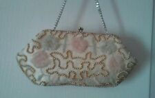 VINTAGE IVORY  Beaded Seed Pearl Gold Evening Handbag Purse Wedding Bag Japan