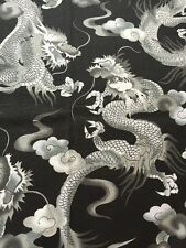 RPA331 Dragons Asian Art Japan Tattoo Style Cotton Fabric Quilt Fabric