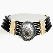 Indian Bone Choker Sterling Concho Navajo Made