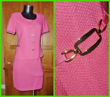 Luxury ST. JOHN Collection Pink KNIT Gold Buckle 2pc SKIRT JACKET DRESS SUIT 2