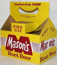 Vintage soda pop bottle carton MASONS ROOT BEER King Size unused new old stock