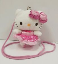 Vintage Sanrio Ballerina Hello Kitty Plush Kiss Lock Coin Purse Kids Pocketbook