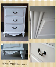 Shabby & Chic Bedside table bed w/3 draws side provintial white furniture