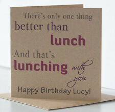Personalised Rustic Lunch Birthday Card Special Best Friend Mum Daughter Sister