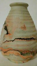 Nemadji  Art Pottery Beehive Vase Red Orange Brown Black