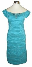 12 ALEX EVENINGS Turquoise Green Beaded Crinkle Stretch Taffeta Dress NWT $150