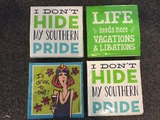 NWT Set of 4 - 20 Ct Paper Cocktail Napkins Southern Pride & Drinks