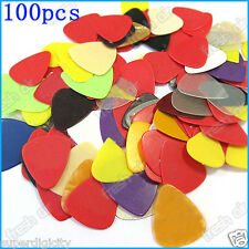 100pcs Acoustic Electric Bass Guitar Picks Plectrums + Case 0.38-0.8mm