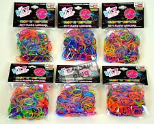 Loom Bands 6 Pack Glitter Glow In Dark Rainbow Colors 1800 Pieces + 72 S Clips
