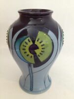 "MOORCROFT CINCO BLUE 6"" VASE BY NICOLA SLANEY"