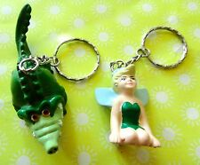 Lot of 2 Disney Peter Pan Keychains - Tinkerbell Fairy and Tic Toc Crocodile