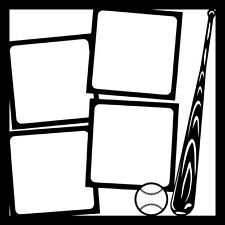 12x12 Baseball Bat & Ball Template Scrapbook Overlay
