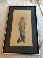 Buster Keaton Pencil Drawing Vintage Pencil Framed Signed Original The General