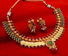 Gold Plated Indian Traditional Bridal Necklace Earrings Bollywood Ethnic Jewelry