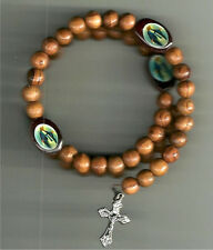 Olive Wood Rosary Bracelet from the Holy Land with Pewter Crucifix
