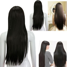 2x Black Straight Long Hair Full Wigs Women Lady Girls Fashion Cosplay Party New