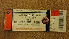 Nationals vs. Mets Max Scherzer No Hitter Citi Field Full Ticket Stub 10/3/15
