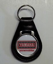 Reproduction Vintage Yamaha Snowmobile Red Medallion Style Leather Keychain