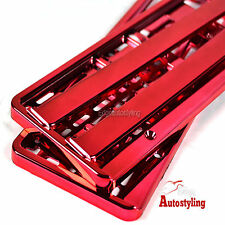 2x RED CHROME EFFECT premium car number plate licence holder frame surround