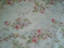 Gorgeous Shabby Ralph Lauren 100% Cotton Pink Roses Flat Sheet Fabric FAYE Twin