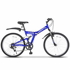 "26"" Folding Mountain Bike 7 Speed Bicycle Shimano Hybrid Suspension Sports Blue"