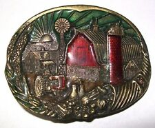 True Vintage FARM BARN SILO HOMESTEAD Brass Plated Belt Buckle Limited Edition