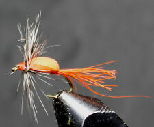 TWO ORANGE FOAM HUMPIES TROUT PANFISH SIZE 12 HOOK FLY FISHING DRY FLY