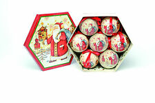 Traditional Father Christmas Decoupage Baubles pack of 7  NEW  18830