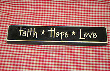 """Rustic Primitive Country Wood sign engraved words """"FAITH HOPE LOVE"""" home decor"""