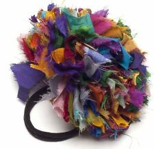 Senti si bon satin VOLANTS cheveux band scrunchie Multi couleur Arc-en-ciel commerce équitable