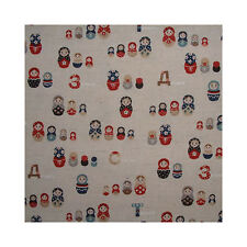 Japanese Linen Russian Matryoshka Fabric Blue FQ