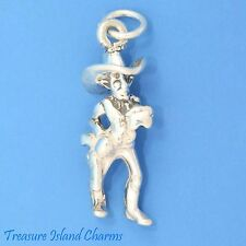 """SHERIFF with COWBOY HAT and GUN 3D .925 Solid Sterling Silver Charm 19mm 0.75"""""""